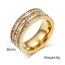 Promotion gold Color crystal ring for women full clear & black stone wedding engagement jewelry