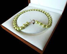 Rare Huge 12mm Genuine South Sea Apple Green Shell Pearl Necklace Heart Clasp 18''(China)
