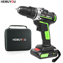 Cordless Screwdriver Electric-Drill-Battery Mini Drill Rechargeable 2-Speed 21V