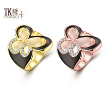 TANGKA fashion hollow butterfly black and white dripping oil ring rose gold ladies fashion jewelry quality sales