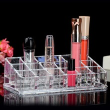 Supply Cosmetics Small Storage Box Dresser Desktop Transparent Acrylic 18 Grid Lipstick Nail Polish Lip Glaze Lip Gloss(China)