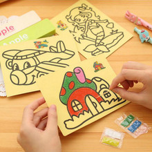 5Pcs/lot 12X16CM Children Kids Drawing Toys Sand Painting Pictures Kid DIY Crafts Creative Educational Toys Gift Pattern Random
