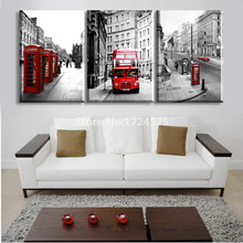 2017 Promotion Rectangle Hot Sale 3 Piece European Street Bus Modern Wall Painting Home Decorative Art London Picture On Canvas(China)