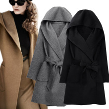 2016 New Winter Women Wool Coat Long Sleeve Two Sides Wear Belted Loose Warm Woolen Jacket Hooded Outerwear H9