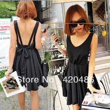 New Fashion Sexy Women Chiffon Backless Bow Pleated Clubwear Party Cocktail Mini Dress Free shpping(China)