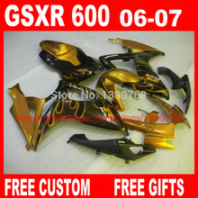 Motorcycle parts for SUZUKI fairings GSXR600 GSXR750 06 07 golden flames in black fairing kit 2006 2007 gsxr600 gsxr750 K6 VF54
