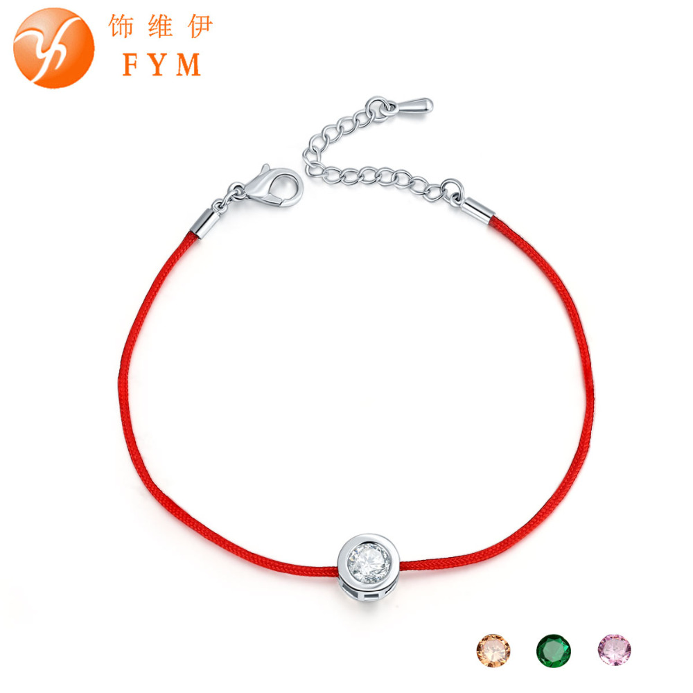 FYM 9 Colors Red Rope Bracelet Round 6mm Cubic Zircon Charm Friendship Bracelets & Bangles for Women Wedding Party Jewelry Gift(China (Mainland))