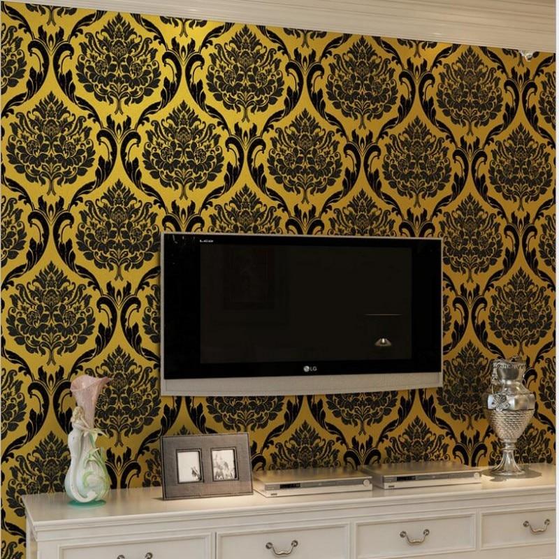 Beibehang European 3d wallpaper embossed golden Damascus background wallpaper bedroom living room wallpaper for walls 3d behang<br>