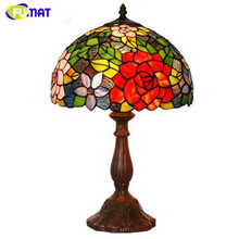 "FUMAT Glass Art Lamp 12"" European Style Stained Glass Roses Table Lamp Hotel Bar Living Room Stand Lamp Bedside Lamp Lights(China)"