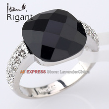 A1-R064 Italina Rigant Fashion Simulated Onyx Ring 18KGP Jewelry Size 5.5-9