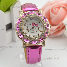 Rhinestone Hello kitty Watch  Children's Cartoon Watches Hot Sell Gift Leather Band Quartz Watch  Free Shipping for Christmas