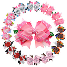 6 Pairs Big Polka Dots Grosgrain Bows For Girls Teens women 4.5 inch Stacked Bow With Alligator Hair Clip For Pigtail Ponytail(China)