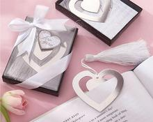 200pcs/lot Heart Silver Bookmarks Wedding Favors Gifts Metal Bookmarks Hot Sell Wedding Collections