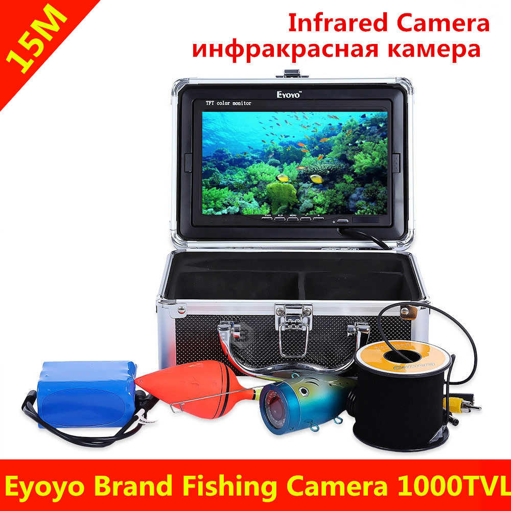 Eyoyo 15M 1000TVL Fish Finder Underwater Fishing 7 Video Camera Monitor with Sun Visor Infrared IR LED Fish Finder <br><br>Aliexpress