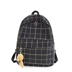 Компактный и вместительный клетчатый школьный рюкзак для девочек