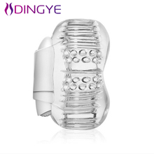 Buy High Quality Silicone Pussy Vagina Male Masturbation Vibrator Penis Exercise Vibrating Device Transparent Silicone Penis Sleeve