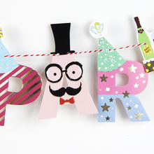 Kids Birthday Banner Party Supplies Decoration Photo Props Wall Background Cartoon Hanging Flags Children Room Birthday Supplies(China)