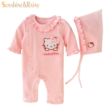 Baby Girl Clothes Newborn Bebes Hello Kitty Girls Clothing Sets Newborn Baby Gifts Lace Rompers + Hat Cotton Clothes Set