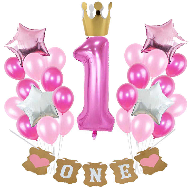 Baby Girl 1st Birthday Balloons I AM ONE Paper Banner Pink Foil Balloon First Year Happy