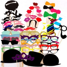 60Pcs Photo Booth Props Party Masks Hat Mustache Lip photobooth props Wedding Party Decoration Birthday Party Favor 2017 wedding