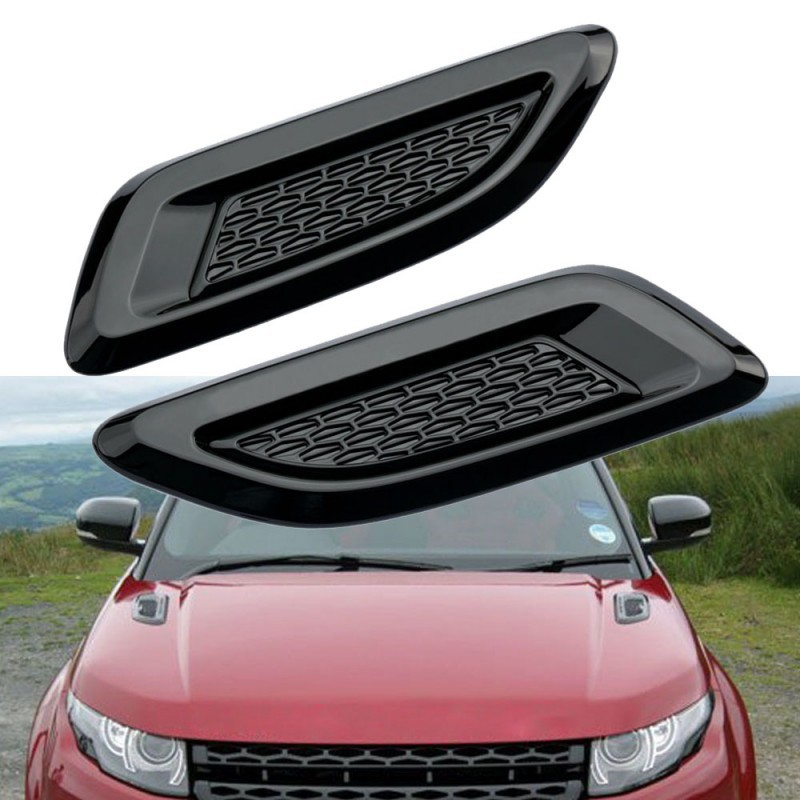 Facibom Gloss Black Dummy Hood Vent Slat Air Wing Trim Cover for Discovery Sport Range Rover EVOQUE 2011-2018