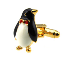 Sunnylink Men's Cuff Links Penguin White Black Gold Cufflinks for shirt M1281 20m(China)
