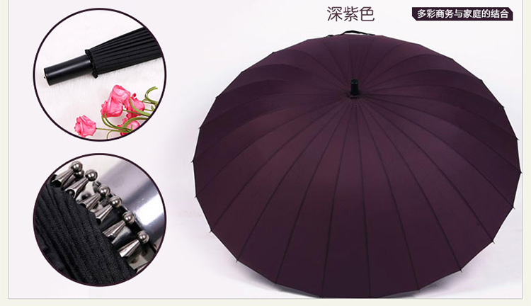 Hot sell Creative long handle outdoor 24 Rib bone straight umbrella large golf umbrellas two or three people compact umbrellas 27
