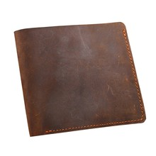 Cowhide Wallet 100% Genuine Leather Wallet Men Crazy Horse Leather Men Wallets Vintage Casual Design Man Wallet Thin Purse Men(China)