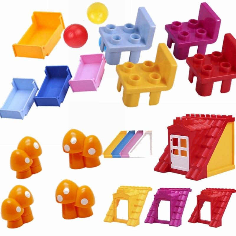 Locking Duplo Daily Necessities Marble Race Maze Ball Track Funnel Slide Bed Mushroom Assemble Blocks Compatible Lockings Duploe