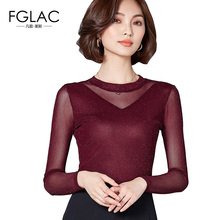 Buy FGLAC Women t-shirt Fashion Casual long sleeved Autumn Mesh tops Elegant Slim Solid tops plus size women clothing blusas for $10.00 in AliExpress store