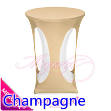 Champagne colour lycra high bar table cloth,lycra table top cover for wedding,banquet and party cocktail table decoration