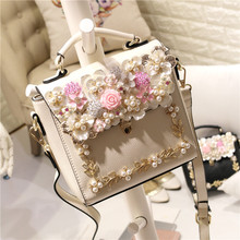 2017 spring summer novelty small sweet flower one shoulder crossbody bag lady cute white pink tote handbag mini lovely purse bag