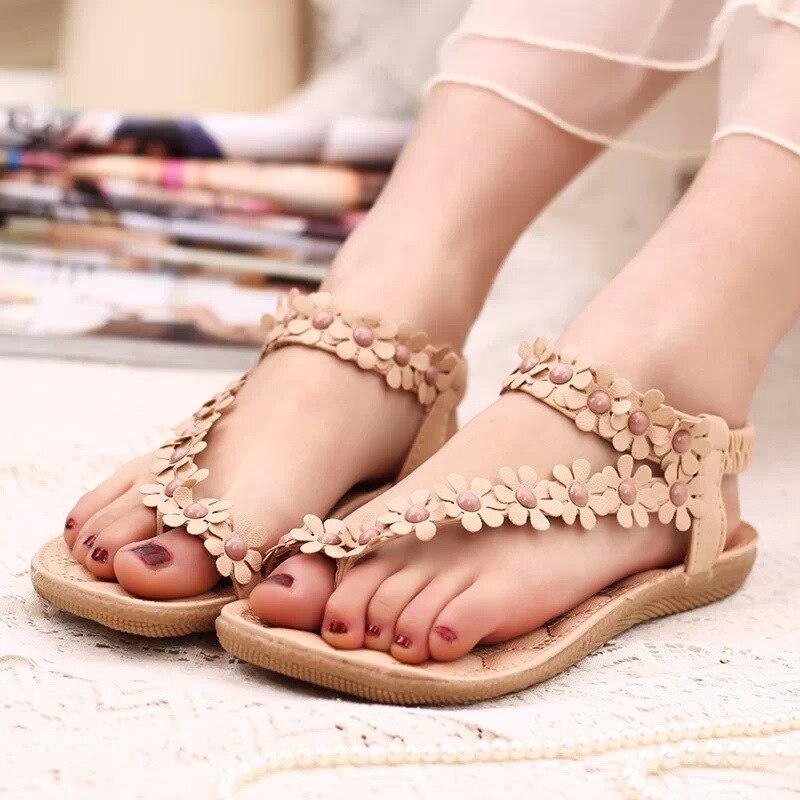 Women shoes flat sandals comfort sandals women Summer Classic beading 2016 fashion Summer high quality flower sandals  BAOK-a5e1<br><br>Aliexpress