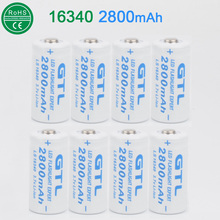 8x 3.7V 16340 2800mAh GTL Rechargeable Battery Cell 8pcs Lithium Batteries For CR123A/ CR17345 LED Flashlight Headlamp free ship