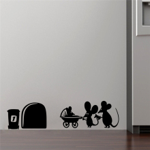 children mouse family hole wall stickers room decoration 377. diy vinyl home decal lovely animal cartoon mural art 5.3