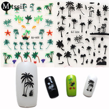 Mtssii Coconut Trees Nail Water Decals Transfer 3D Nial Stickers 1 Sheet Anchors Nail Art Stickers(China)