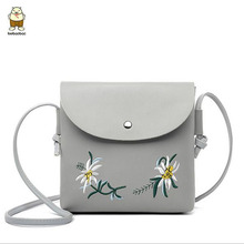 free shipping 2017 Flap Simple Design Embroidery Flower Women Messenger Bags Famous Women Bag Good Quality Brand Telephone Bags(China)