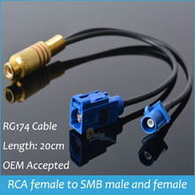 Sindax RF Connector RCA female JACK to Y Fakra SMB Z 5021 male female  Adapter RG174 Splitter Combiner cable Drop Shipping