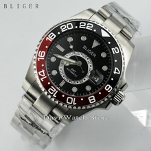 New 43mm Black&Red Titanium Bezel GMT Luminous Hands Sapphire Glass Automatic Day Men's Watch