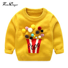 Tem Doge 2017 Autumn Winter Baby Girls Sweaters Newborn Boys Long Sleeve Pompon Warm Knitted Clothes Baby Cartoon Woolen Sweater(China)