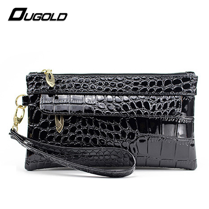 Ougold Wristlet Wallets Femalies Luxury Brand Women Purse Large Capacity Smooth Leather Crocodile Pattern Handbags Phone Pocket<br><br>Aliexpress