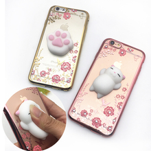 3D Cute Cat Rabbit Sea Lion Squishy Phone Case For iPhone 5S SE 6 6S Plus 7 Plus Flower Bling Diamond Rhinestone Clear Soft Case(China)