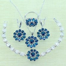 Reginababy Superb Sunflower Blue Crystal stone Jewelry Sets Women Silver color Bracelets/Earrings/Ring/Necklace/Pendan