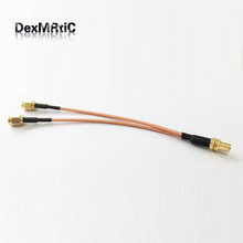 RP SMA female jack nut  to 2X RP-SMA plug female pin Splitter Combiner Pigtail cable RG316 15CM 6""