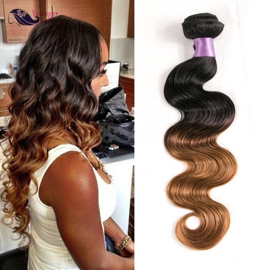 Two Tone Ombre Brazilian Body Wave Hair Ombre 30 Brazilian Hair Weave Bundles Brown Ombre Human Hair<br><br>Aliexpress
