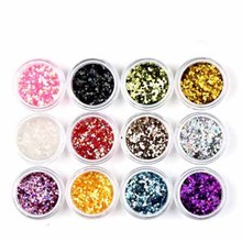 12 Pcs/set! Pure 12 Colors Nail Glitter Powder Shimmer Hexagon Nail Art DIY Small Glitter Dust Powder Sequins Sheet in Clear Jar