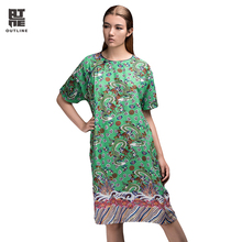 Outline Brand Unique Woman Dress Original Brand Casual Linen Chinese Style Printing Women Plus Size Dresses L152Y045