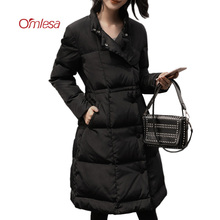 OMLESA 2017 New Black Down Coat Women Fashion A-line Duck Down Jackets Skirt Fluffy Parka Ladies Long Slim Warm Overcoat YQ313