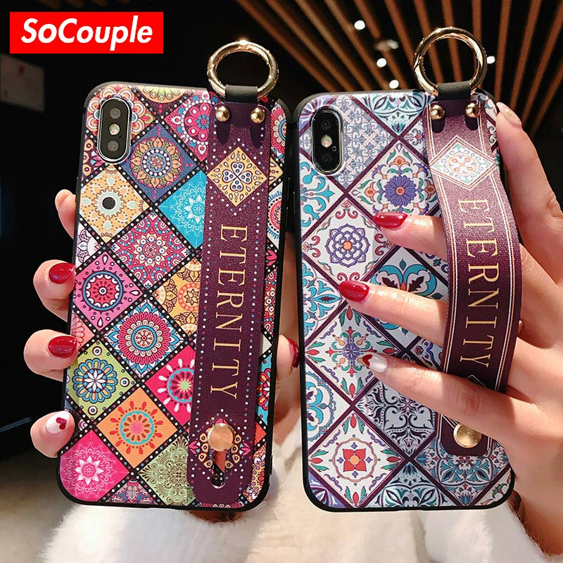 SoCouple Wrist Strap Soft TPU Phone Case For iphone 7 8 6 6s plus Case For iphone X Xs max XR Vintage Flower Pattern Holder Case(China)