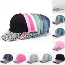 Unique Outdoor Snapback Adjustable Soft Casual Crystal Bling Breathable Cowboy Jeans Adjustable Baseball Hat